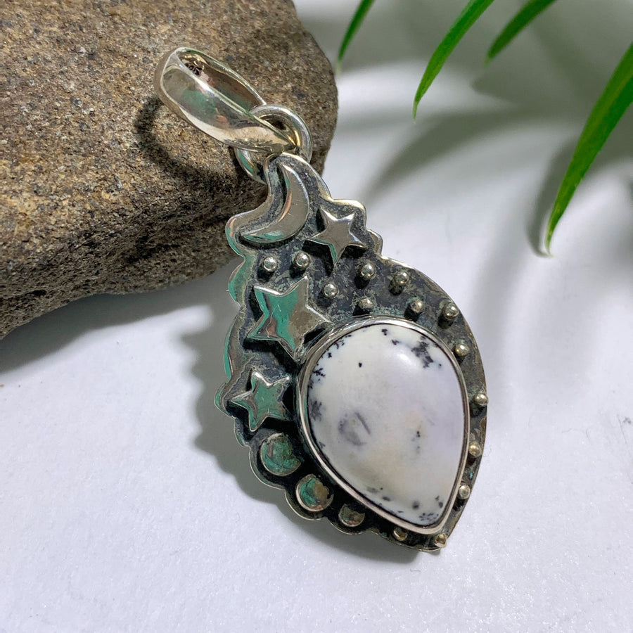 Dendritic Agate Pendant in Sterling Silver (Includes Silver Chain)