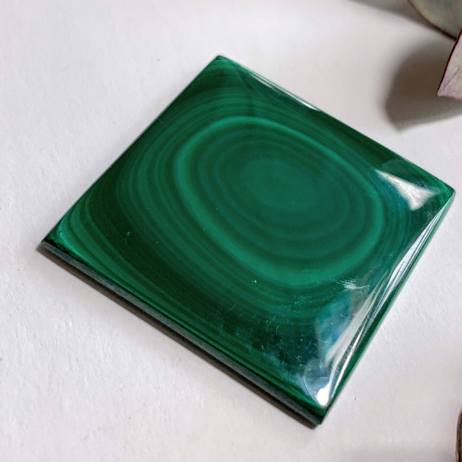 Deep Green Swirls Malachite Cabochon~ Ideal for Crafting
