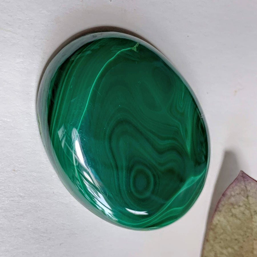 Deep Green Swirls Malachite Cabochon~ Ideal for Crafting #1