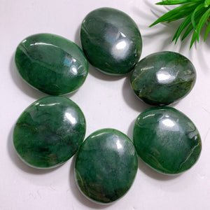 One Dark Forest Green Jade Handheld Palm Stone~Locality BC, Canada