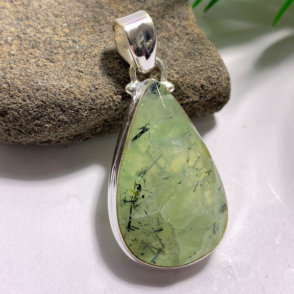Green Prehnite & Epidot Threads Faceted Sterling Silver Pendant (Includes Silver Chain)