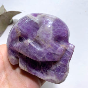 Unique Patterns Lavender Purple Large Chevron Amethyst Skull Carving - Earth Family Crystals