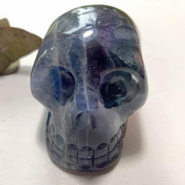 Fascinating  Large Blue/Green & Purple Fluorite Crystal Skull Carving