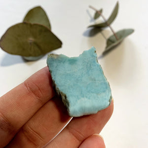 Cute Blue Unpolished Larimar Small Handheld Specimen From The Dominican #1