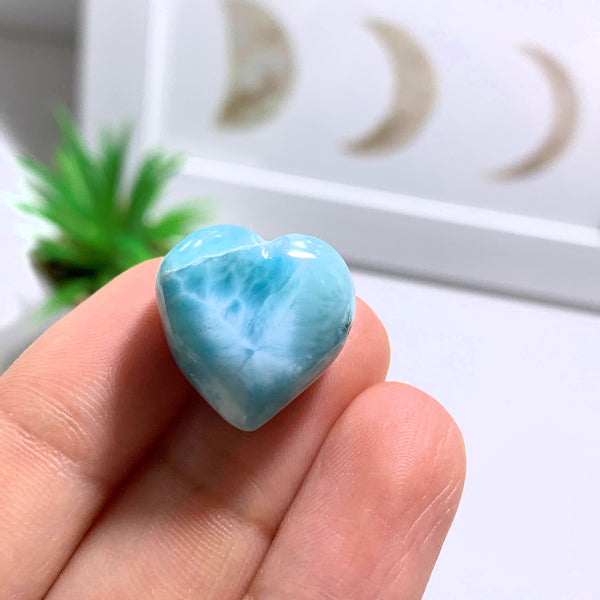 Larimar Dainty Heart Carving~Locality: Dominican Republic #2