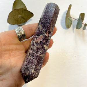 Shimmering Deep Lilac Lepidolite With Pink Tourmaline Inclusion Wand Carving From Brazil #1