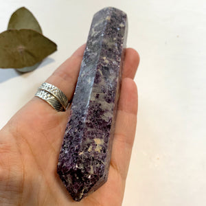 Shimmering Deep Lilac Lepidolite With Pink Tourmaline Inclusion Wand Carving From Brazil #2