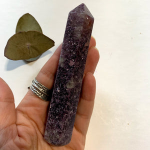 Copy of Shimmering Deep Lilac Lepidolite With Pink Tourmaline Inclusion Wand Carving From Brazil #3 - Earth Family Crystals