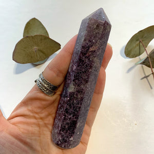 Copy of Shimmering Deep Lilac Lepidolite With Pink Tourmaline Inclusion Wand Carving From Brazil #3