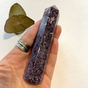 Shimmering Deep Lilac Lepidolite With Pink Tourmaline Inclusion Wand Carving From Brazil #4