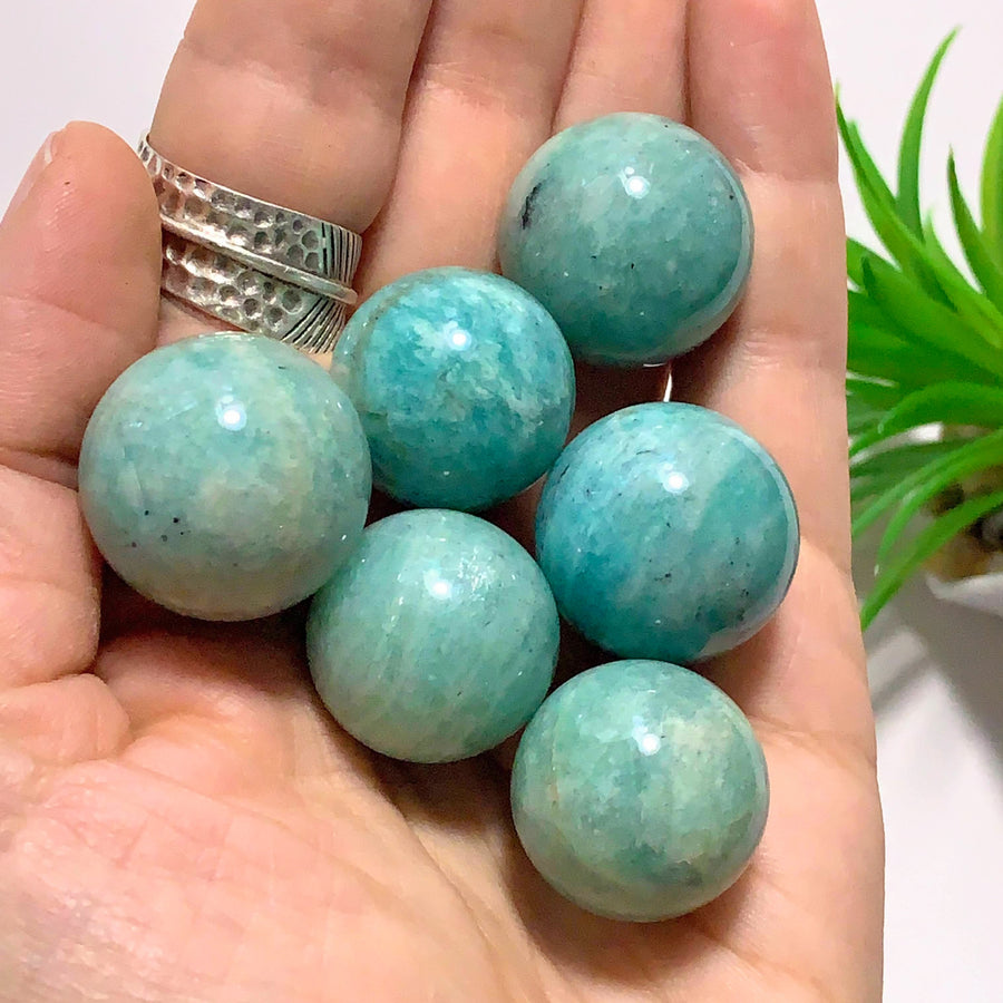 One Cute Blue Amazonite  Dainty Sphere Carving