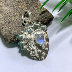 Rainbow Moonstone Gemstone Pendant in Sterling Silver (Includes Silver Chain)