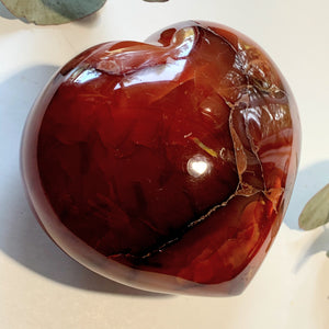 Chunky Fire Red/Orange Carnelian Large Heart Carving From Madagascar