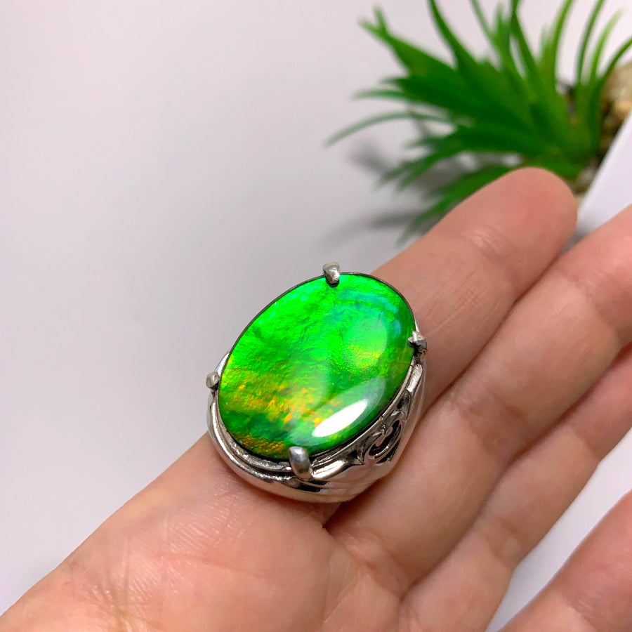 Chunky Green Alberta Ammolite Quartz Capped  Ring in Sterling Silver (Size 10)