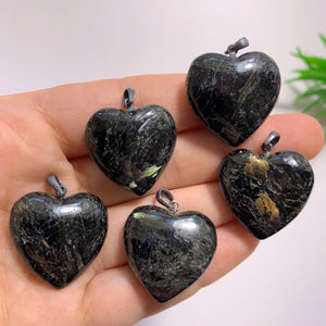 One Genuine Greenland Nuummite Heart Pendant in Sterling Silver (Includes Silver Chain)