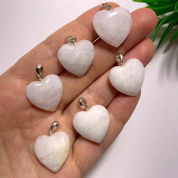 One Genuine Greenland Cryolite Gemstone Heart Pendant in Sterling Silver (Includes Silver Chain)