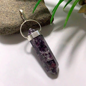 Deep Lilac DT Lepidolite Sterling Silver Pendant (Includes Silver Chain) #3