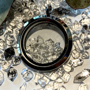 Brilliant 12 Herkimer Diamonds Floating in Stainless Steel Locket Style Pendant (Includes Silver Chain) - Earth Family Crystals