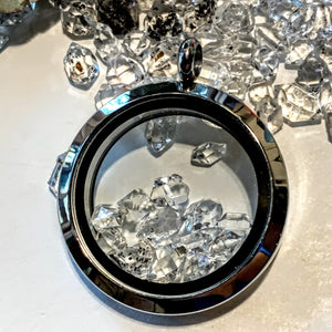Brilliant 12 Herkimer Diamonds Floating in Stainless Steel Locket Style Pendant (Includes Silver Chain)