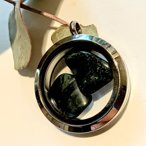 Floating 2 Stone Kambaba Jasper Stones in Stainless Steel Locket Style Pendant (Includes Silver Chain) - Earth Family Crystals