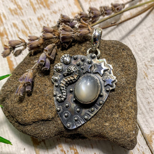 Pearl Moonstone Seahorse & Stars  Gemstone Pendant in Sterling Silver (Includes Silver Chain)