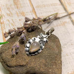 Peach Moonstone Moon & Stars Gemstone Pendant in Oxidized Sterling Silver (Includes Silver Chain) #2