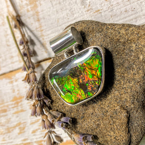 Flashy Ammolite Pendant in Sterling Silver (Includes Silver Chain) #2