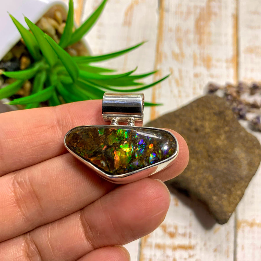 Flashy Ammolite Pendant in Sterling Silver (Includes Silver Chain) #3