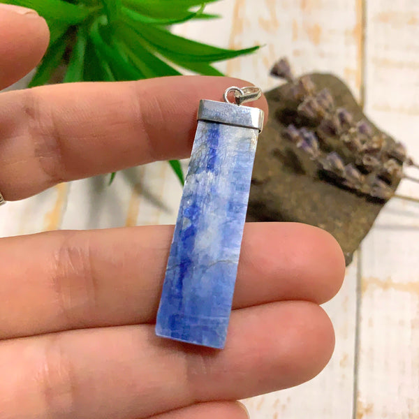 Blue Kyanite Sterling Silver Pendant (Includes Silver Chain) #1
