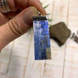 Blue Kyanite Sterling Silver Pendant (Includes Silver Chain) #2