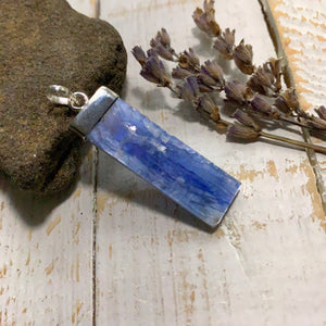 Blue Kyanite Sterling Silver Pendant (Includes Silver Chain) #3
