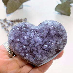 Delightful Sparkle Lavender Amethyst Druzy Love Heart~ Locality Uruguay