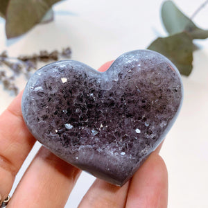 Pretty Sparkle Lavender Amethyst Druzy Hand Held Heart~ Locality Uruguay