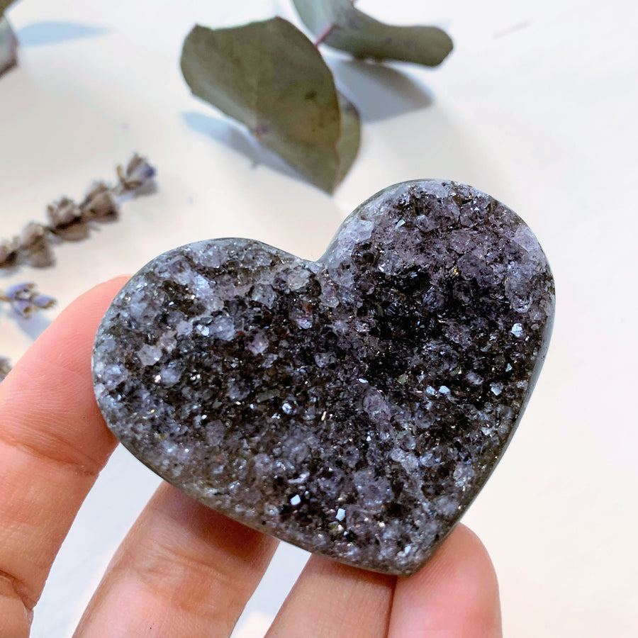 Pretty Sparkle Black Druzy Amethyst Hand Held Heart~ Locality Uruguay - Earth Family Crystals