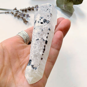 Mongolian Laser Wand Quartz Point With Elestial End & White Calcite/Specular Hematite Inclusions)