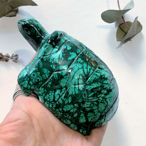 Fascinating Green Patterns Malachite Large Turtle Carving