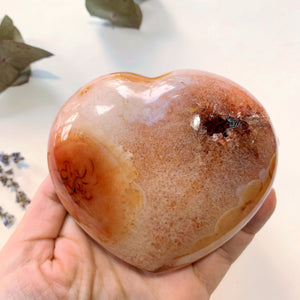 Uplifting Orange Carnelian Large Love Heart With Deep Druzy Cave ~Locality Madagascar - Earth Family Crystals
