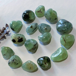 Set of 2 Prehnite Tumbled Stones With Epidote Inclusions -Locality Mali