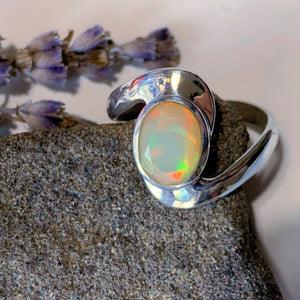 Incredible Multi Color Flash ~High Grade Faceted Ethiopian Opal Sterling Silver Ring (Size 9)