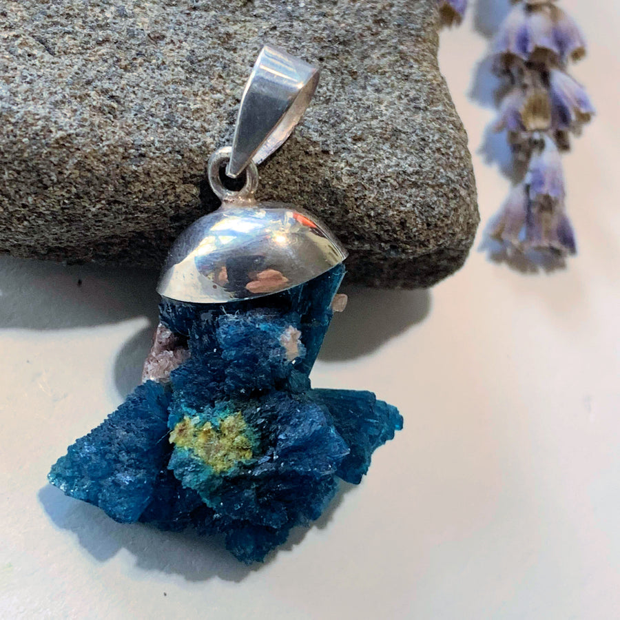 Unique Natural Fanned Cavansite Floating Sterling Silver Pendant (Includes Silver Chain)