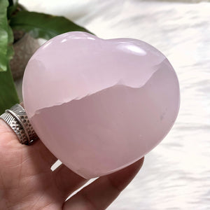 Pink Calcite Large Love Heart Carving (Glows under UV Light) #3