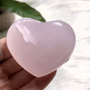 Pink Calcite Medium Love Heart Carving (Glows under UV Light) #1