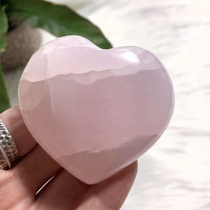 Pink Calcite Medium Love Heart Carving (Glows under UV Light) #2