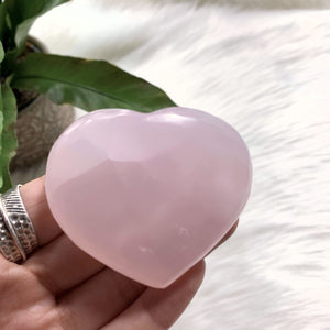 Pink Calcite Medium Love Heart Carving (Glows under UV Light) #3