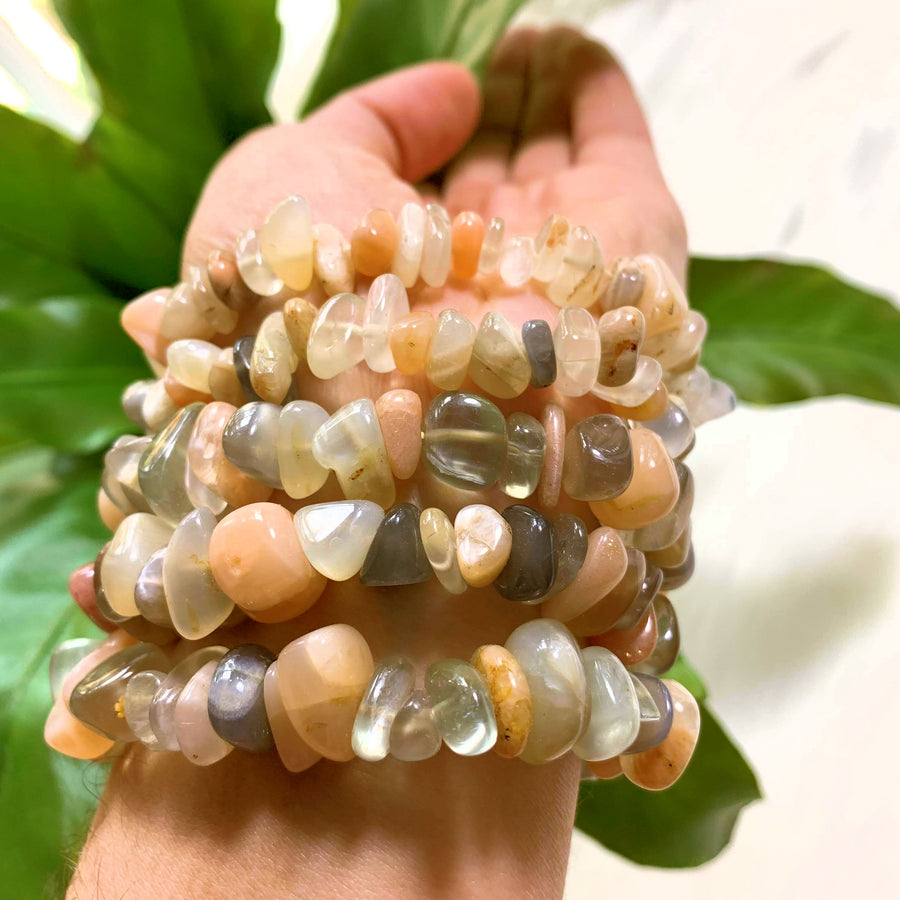 One Multi Color Greenland Moonstone Bracelet