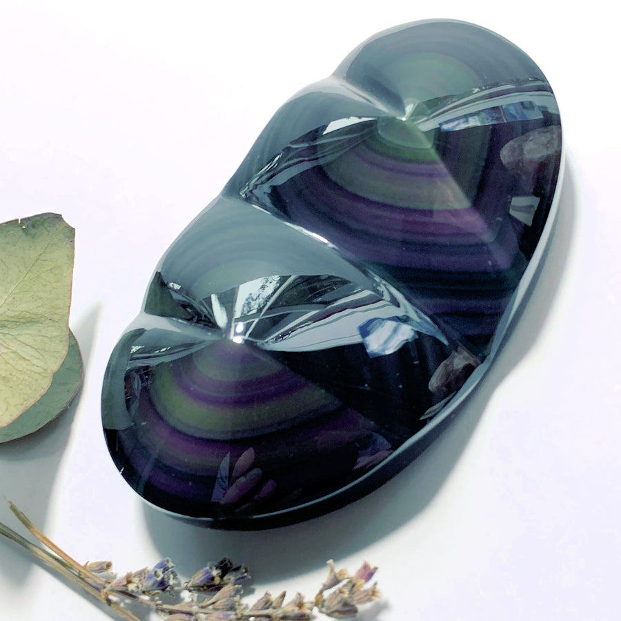 Gorgeous Double Love Heart Rainbow Obsidian Large Carving From Mexico