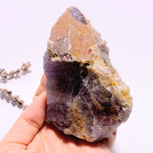 Genuine Auralite-23 Red Hematite & Quartz Druzy Capped Large Elestial Point From Ontario, Canada - Earth Family Crystals