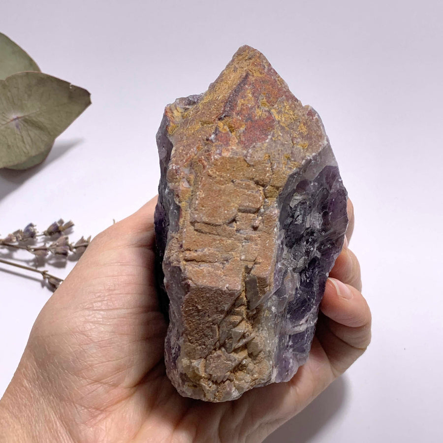 Genuine Auralite-23 Red Hematite Capped Large Point From Ontario, Canada - Earth Family Crystals