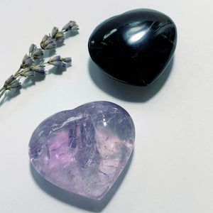 Set of Love Hearts~Smoky Quartz & Amethyst Hand Held Carvings