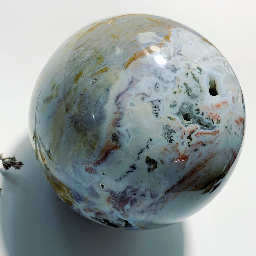Incredibly Massive 2.4 KG~Ocean Jasper Sphere With Druzy Caves ~Locality Madagascar